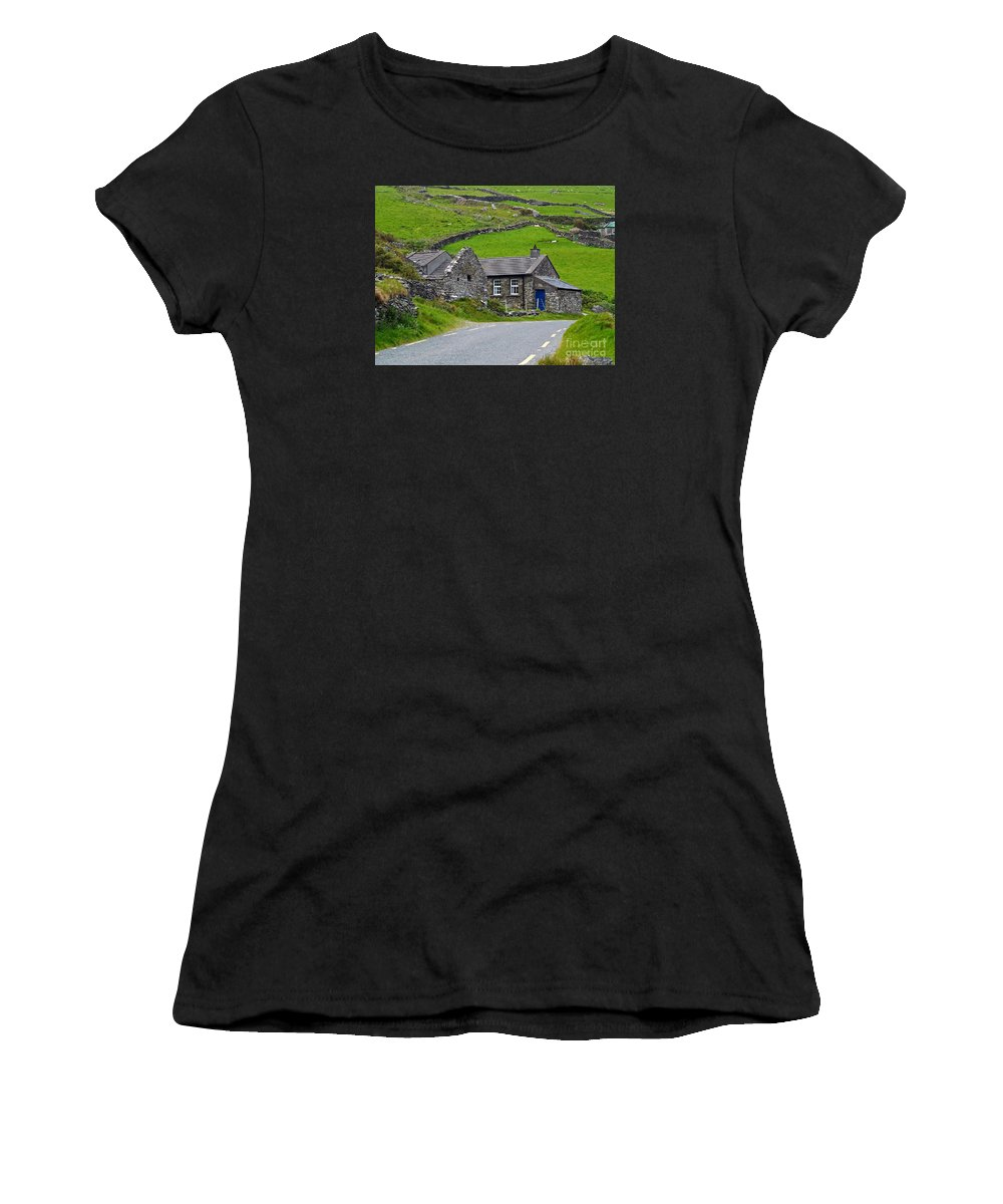Fine Art Photography Women's T-Shirt (Athletic Fit) featuring the photograph The Blue Door by Patricia Griffin Brett