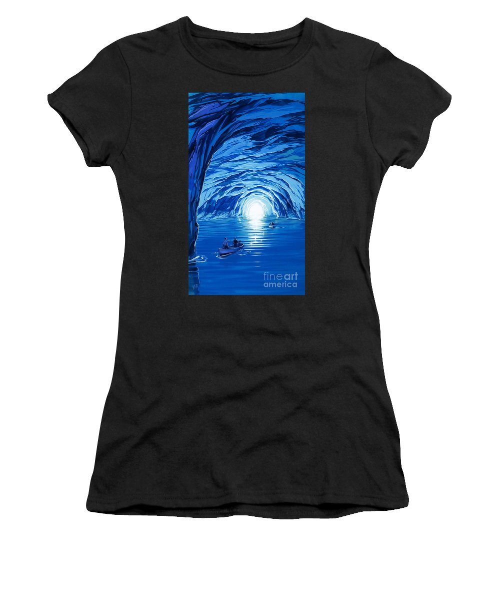 Blue Grotto; Capri; La Grotta Azzurra; Italy; Cave; Sea; Mediterranean; Blue; Colour Women's T-Shirt (Athletic Fit) featuring the painting The Blue Grotto In Capri By Mcbride Angus by Angus McBride