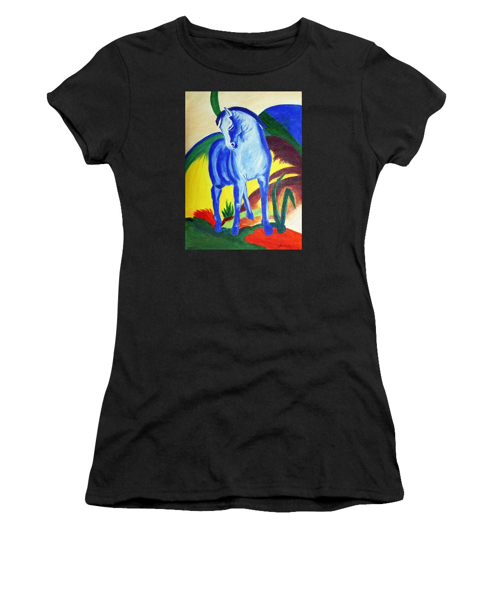 Horse Women's T-Shirt (Athletic Fit) featuring the painting The Blue Horse Franc Marz by Asha Sudhaker Shenoy