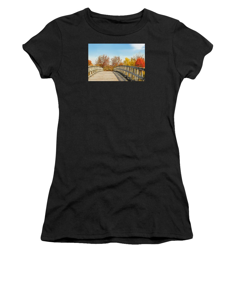 New Jersey Fall Foliage Women's T-Shirt (Athletic Fit) featuring the photograph The Bridge To Autumn by Regina Geoghan