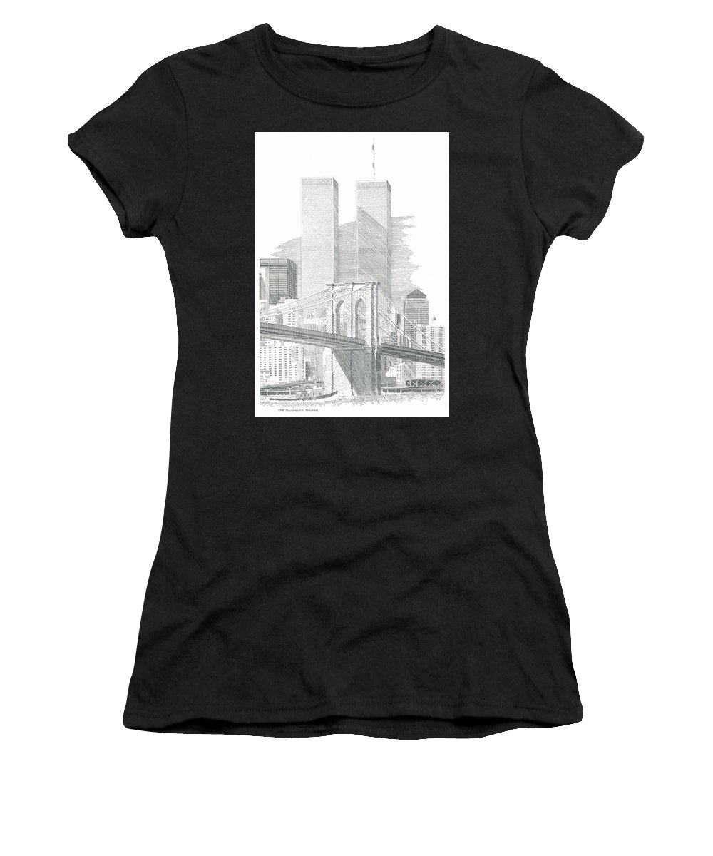 Landscape Women's T-Shirt featuring the drawing The Brooklyn Bridge by Bruce Arvon