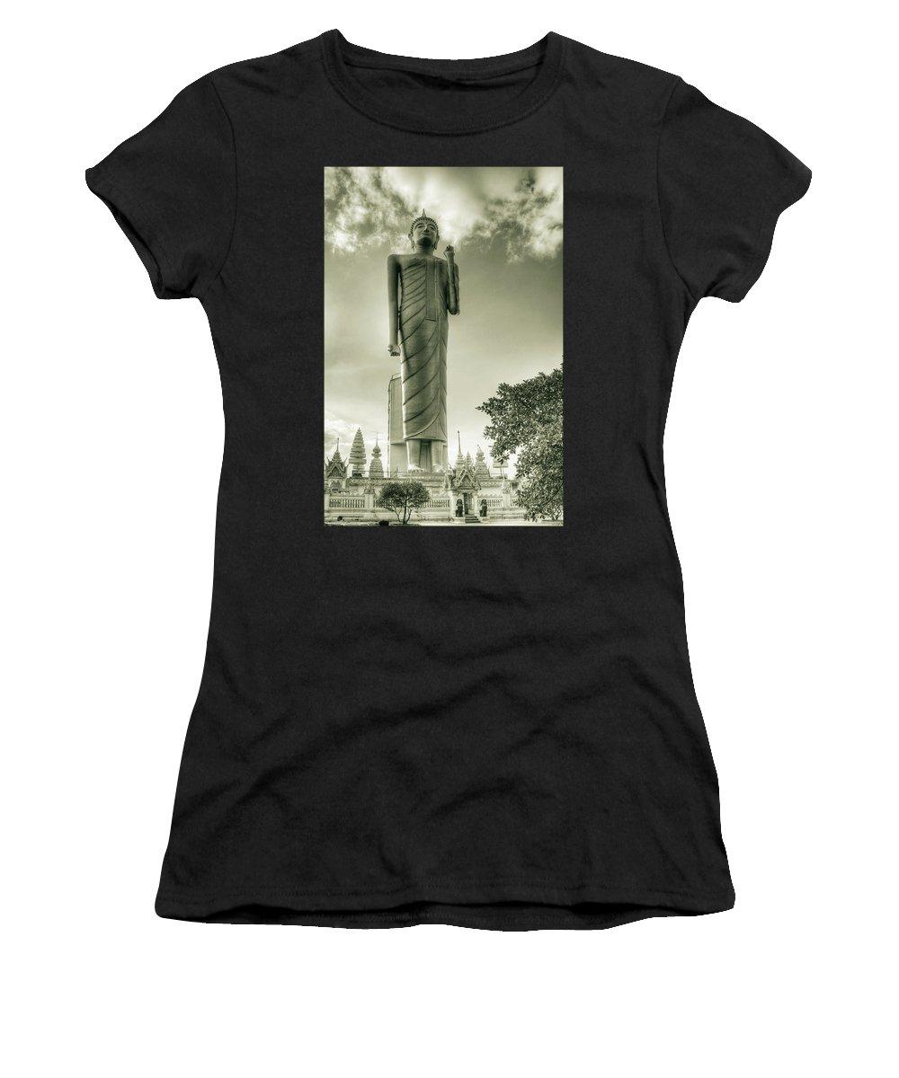 Brigitte Harper Women's T-Shirt featuring the photograph The Buddha Of Roi-et by Brigitte Harper