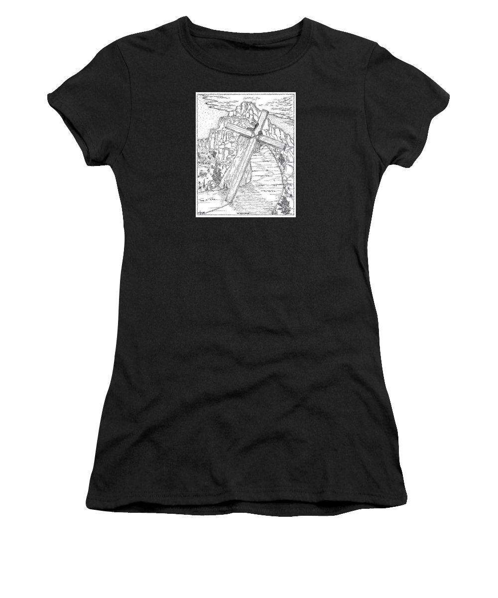 Jesus Christ Women's T-Shirt (Athletic Fit) featuring the drawing The Burden Endured by Glenn McCarthy Art and Photography