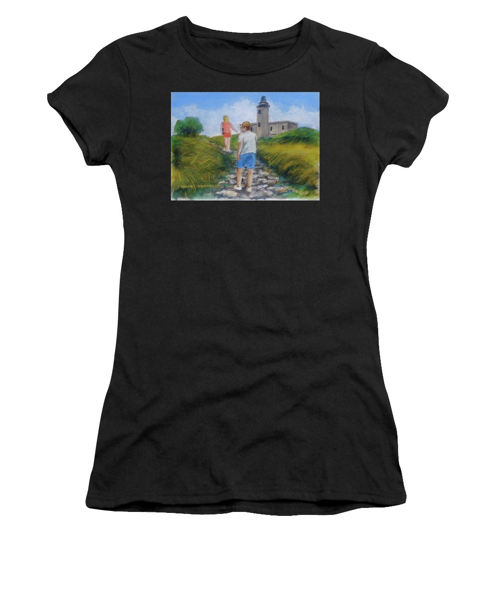 Hike To Light House Cabo Rojo Women's T-Shirt (Athletic Fit) featuring the painting The Cabo Rojo Light House In Puerto Rico by Frank Hunter
