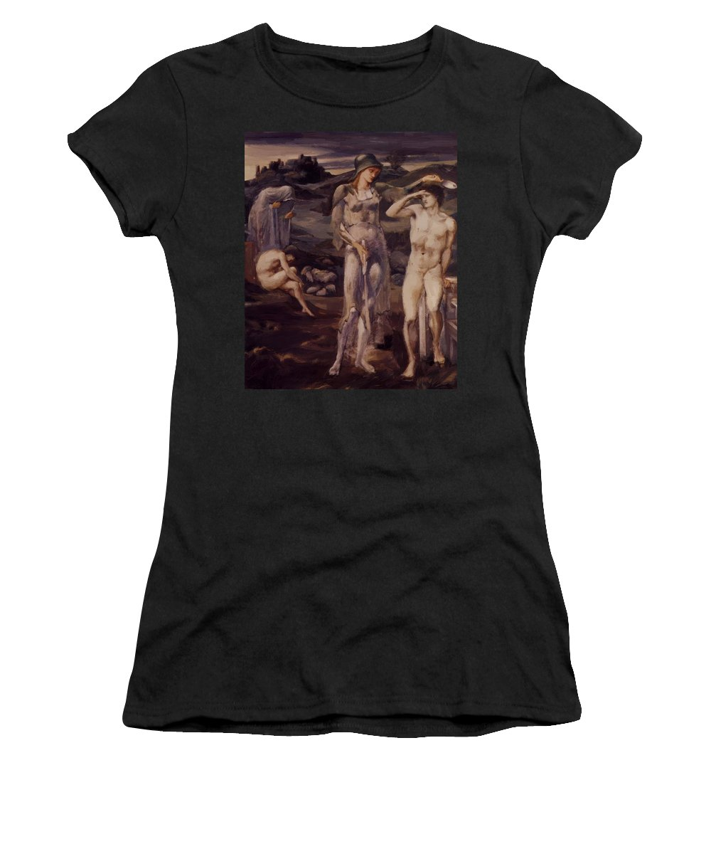 The Women's T-Shirt (Athletic Fit) featuring the painting The Calling Of Perseus 1898 by BurneJones Edward