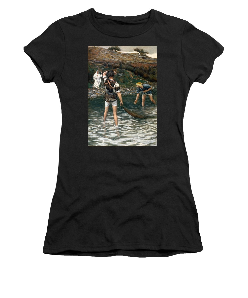 Jesus Women's T-Shirt (Athletic Fit) featuring the painting The Calling Of Saint Peter And Saint Andrew by Tissot
