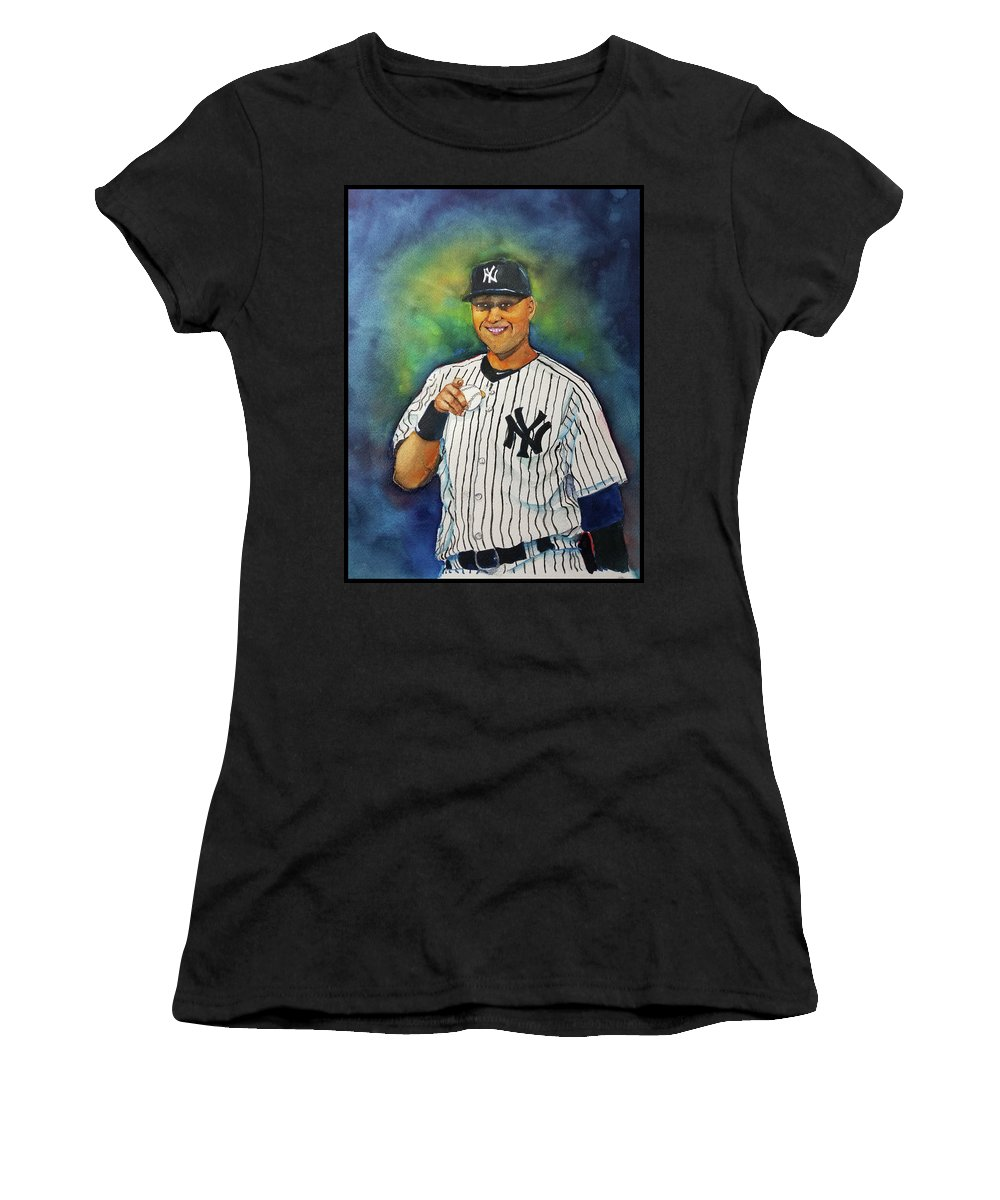 Watercolor Women's T-Shirt (Athletic Fit) featuring the painting The Captain by Fred Smith