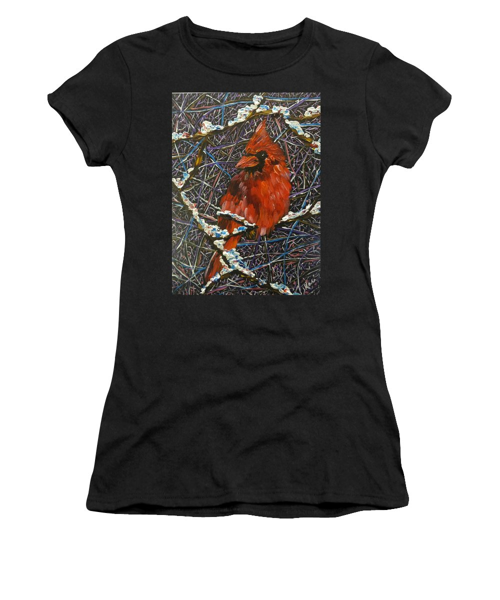 Birds Women's T-Shirt featuring the painting The Cardinal by Kari Parkhouse