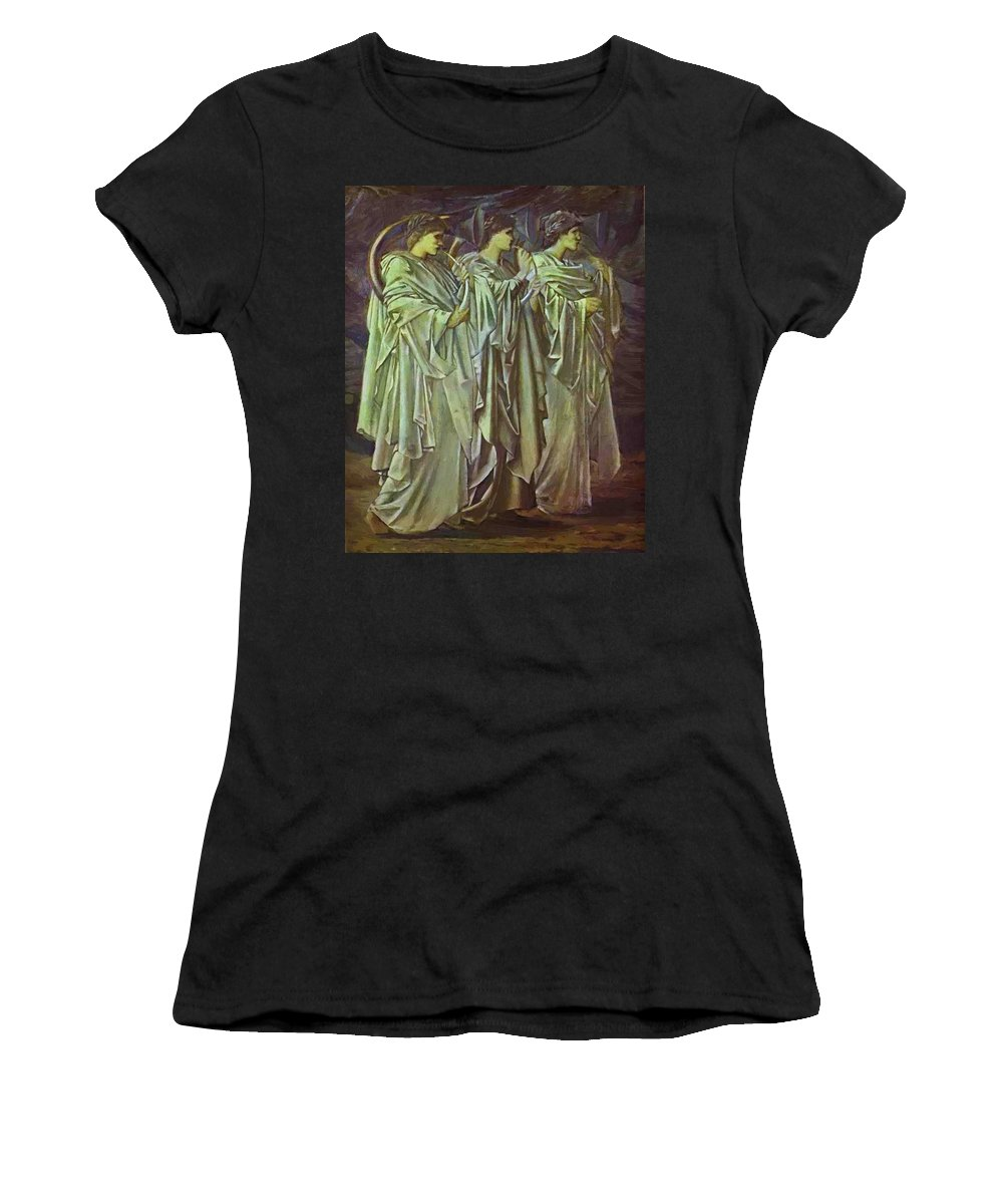 The Women's T-Shirt (Athletic Fit) featuring the painting The Challenge In The Wilderness 1898 by BurneJones Edward