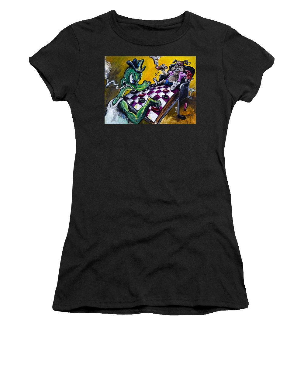 Checkers Women's T-Shirt (Athletic Fit) featuring the painting The Checker Game by Jason Gluskin