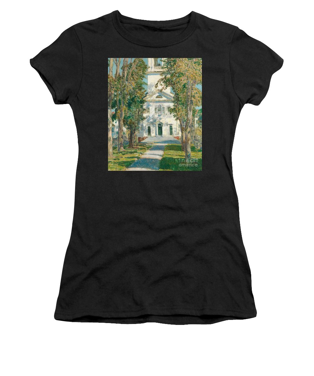 Childe Hassam Women's T-Shirt (Athletic Fit) featuring the painting The Church At Gloucester, 1918 by Childe Hassam