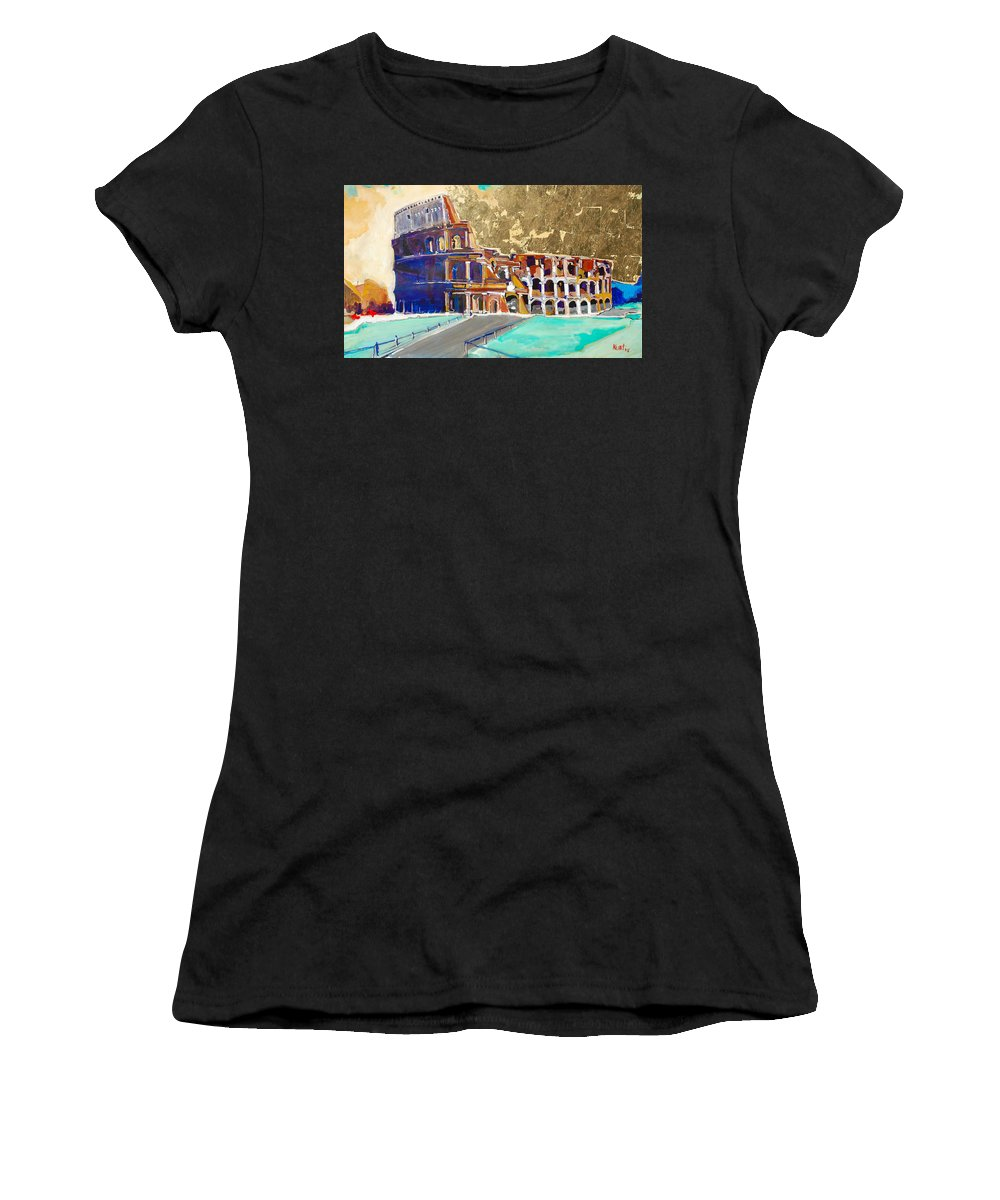 Colosseum Women's T-Shirt (Athletic Fit) featuring the painting The Colosseum by Kurt Hausmann