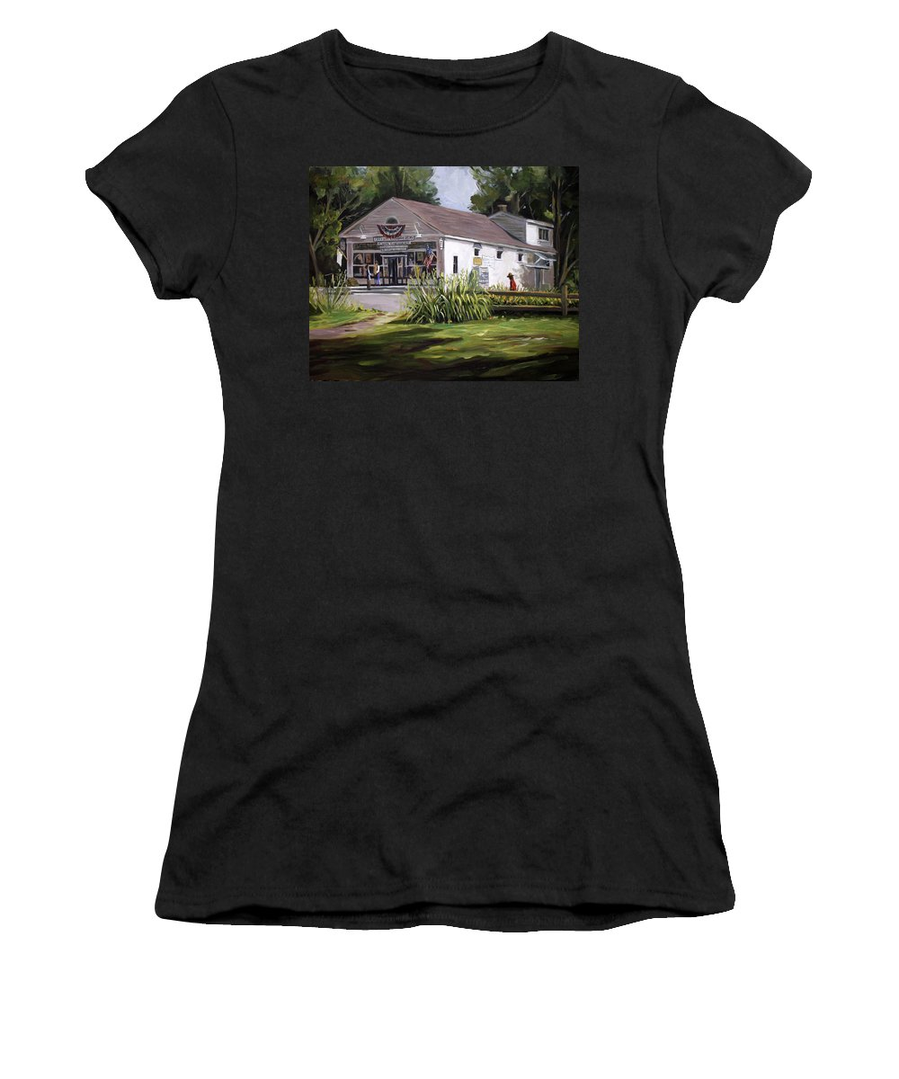 Buildings Women's T-Shirt (Athletic Fit) featuring the painting The Country Store by Nancy Griswold