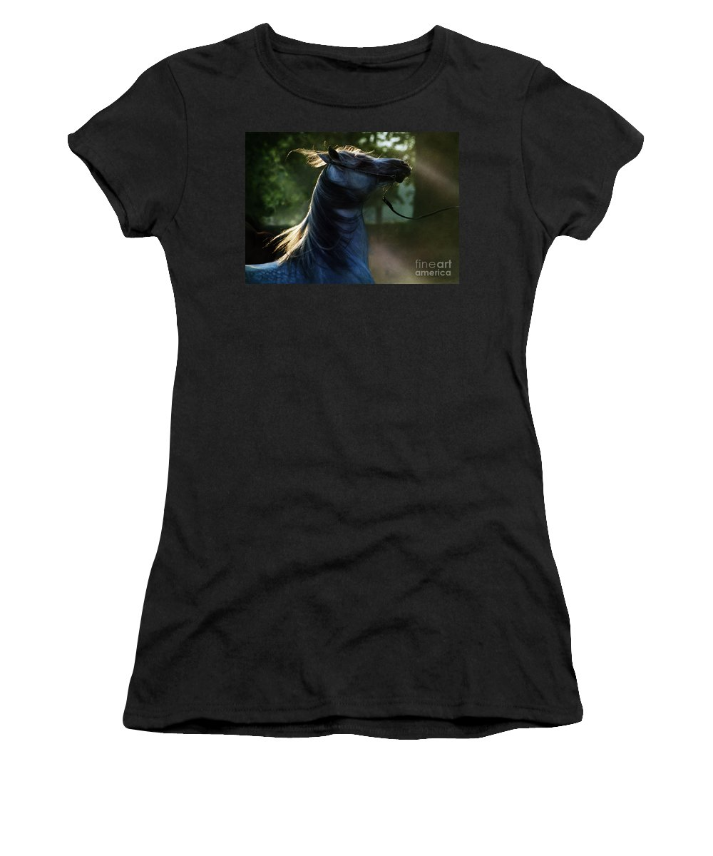 Sunset Women's T-Shirt (Athletic Fit) featuring the photograph The Crazy Horse by Angel Ciesniarska