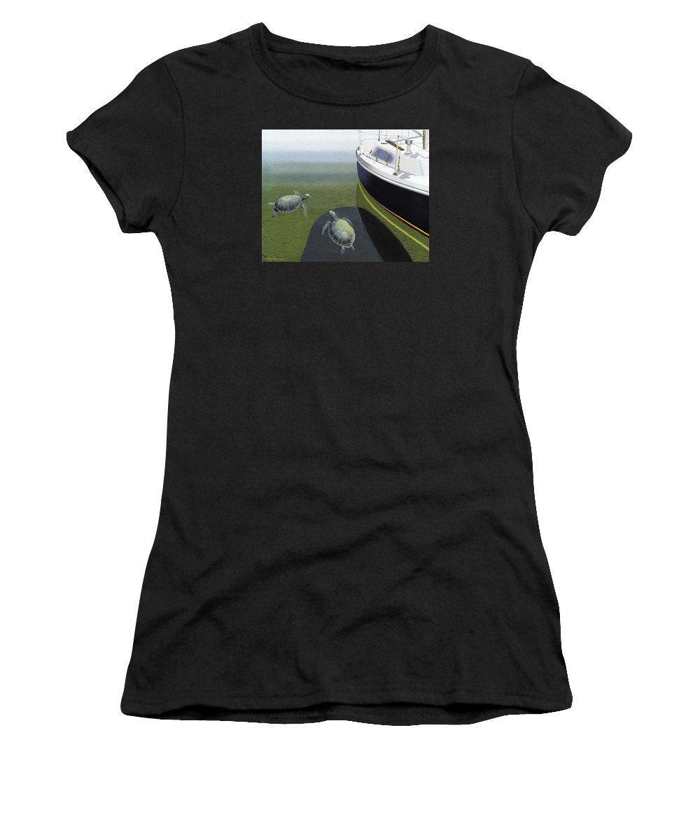 Sail Boat Women's T-Shirt featuring the painting The Curiosity Of Sea Turtles by Gary Giacomelli