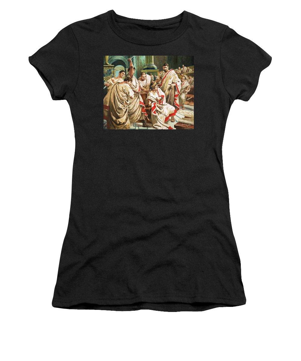 Julius Caesar; Rome; Senate; Senators; Assassination; Murder; Knife; Ides Of March Women's T-Shirt (Athletic Fit) featuring the painting The Death Of Julius Caesar by C L Doughty