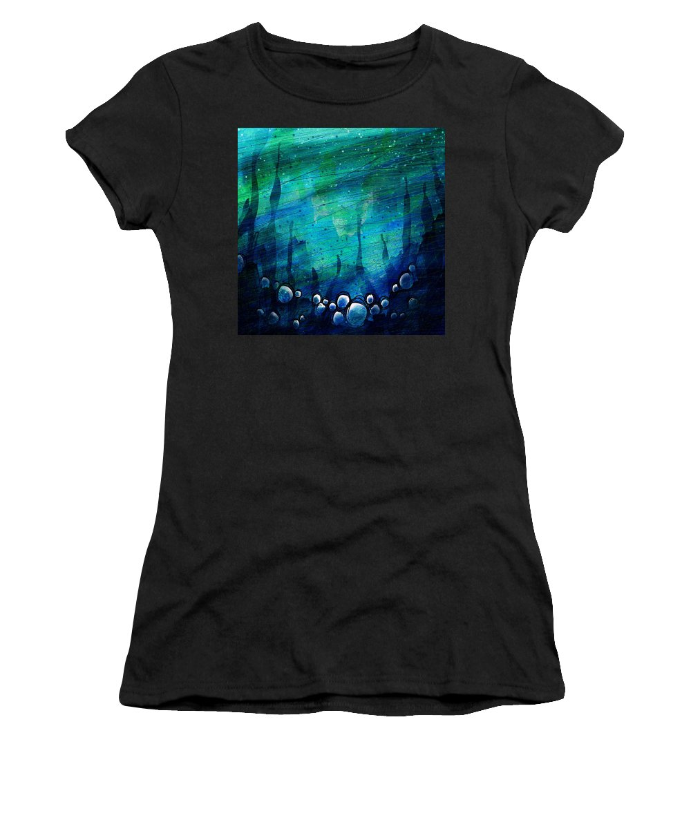 Abstract Women's T-Shirt (Athletic Fit) featuring the digital art The Deep Places by Rachel Christine Nowicki