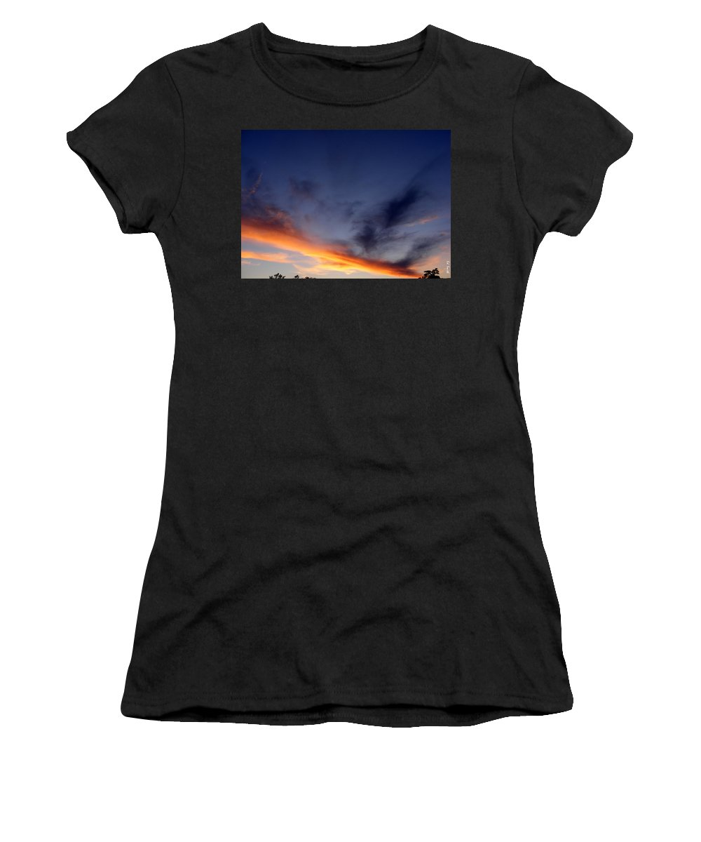 The Dividing Line Women's T-Shirt (Athletic Fit) featuring the photograph The Dividing Line by Ed Smith