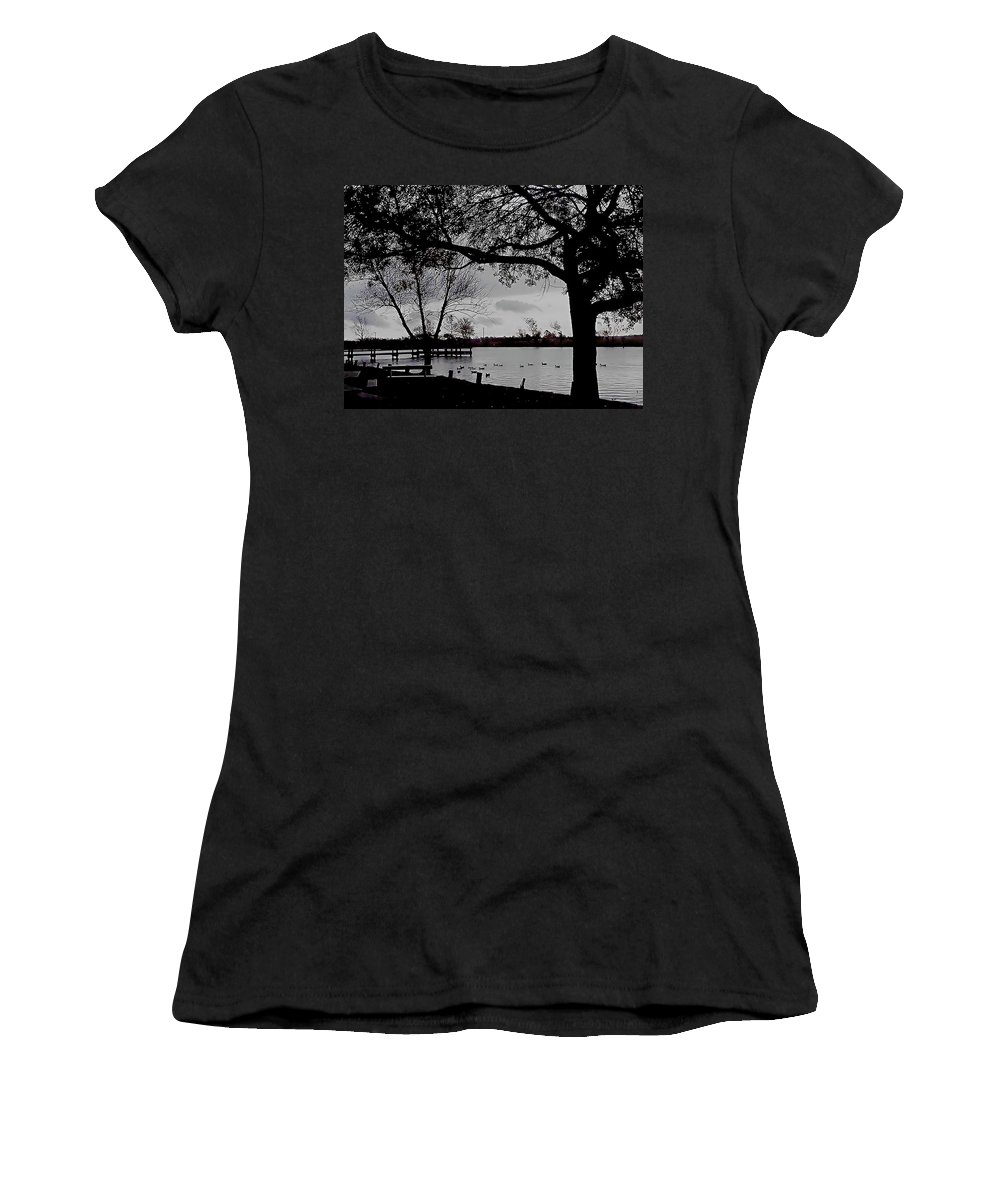 Black And White Women's T-Shirt (Athletic Fit) featuring the photograph The Duck Pond by Karen Wagner