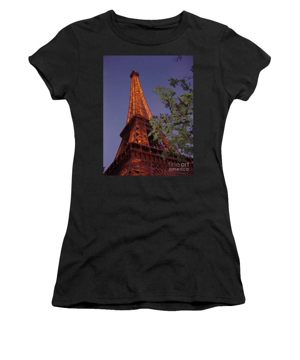 Tower Women's T-Shirt (Athletic Fit) featuring the photograph The Eiffel Tower Aglow by Nadine Rippelmeyer