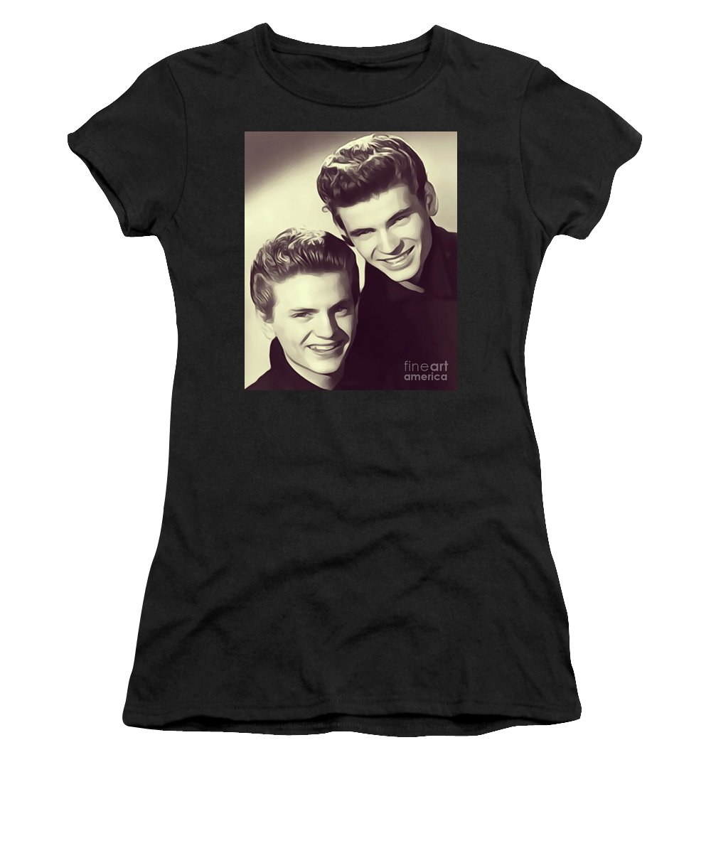 Everly Women's T-Shirt (Athletic Fit) featuring the digital art The Everly Brothers by John Springfield