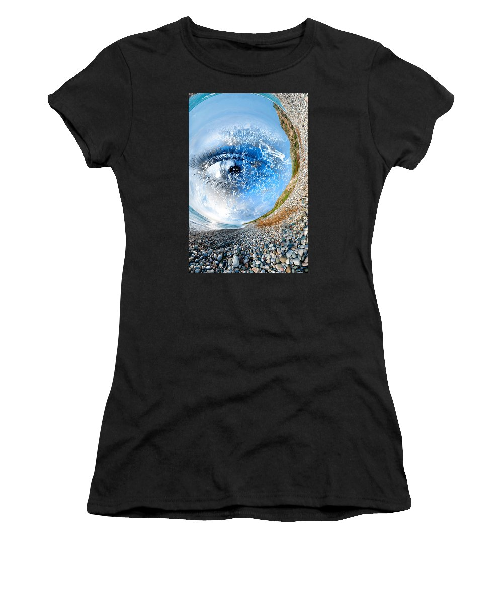Eye Women's T-Shirt (Athletic Fit) featuring the digital art The Eye Of Nature 3 by Lisa Yount
