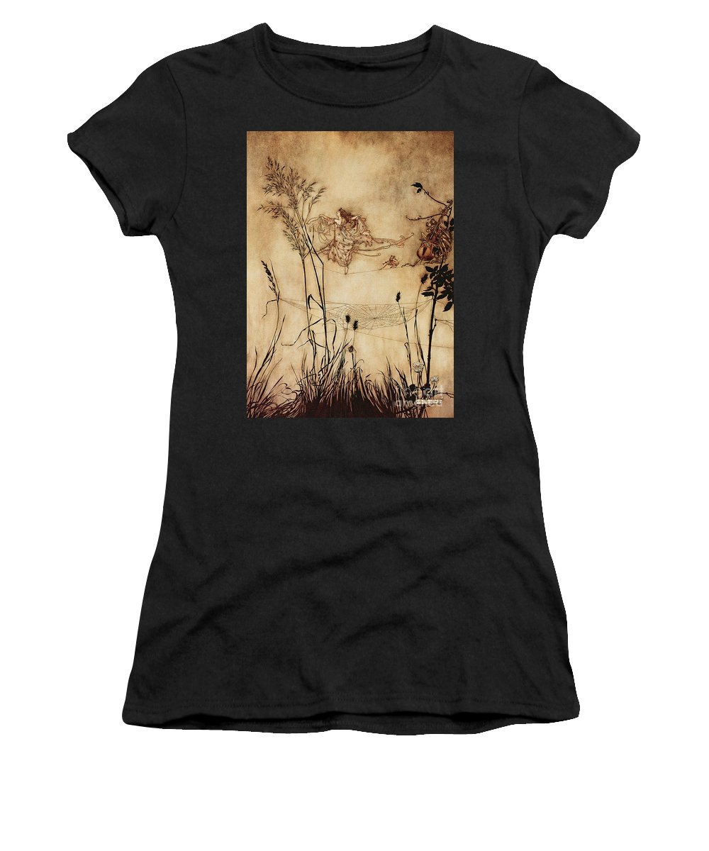 Woman Women's T-Shirt featuring the drawing The Fairy's Tightrope From Peter Pan In Kensington Gardens by Arthur Rackham