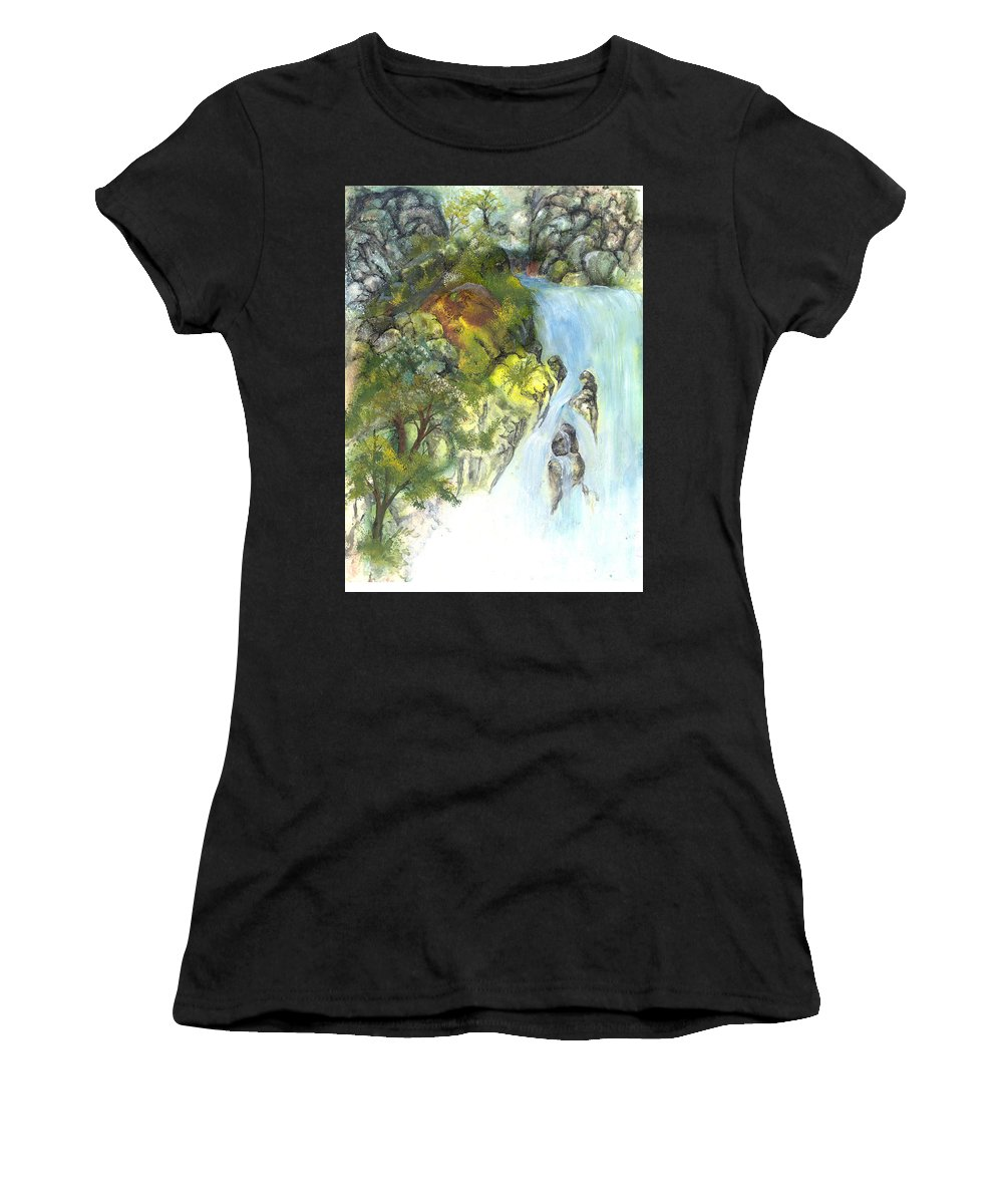 Waterfall Women's T-Shirt featuring the painting The Falls by Sherry Shipley