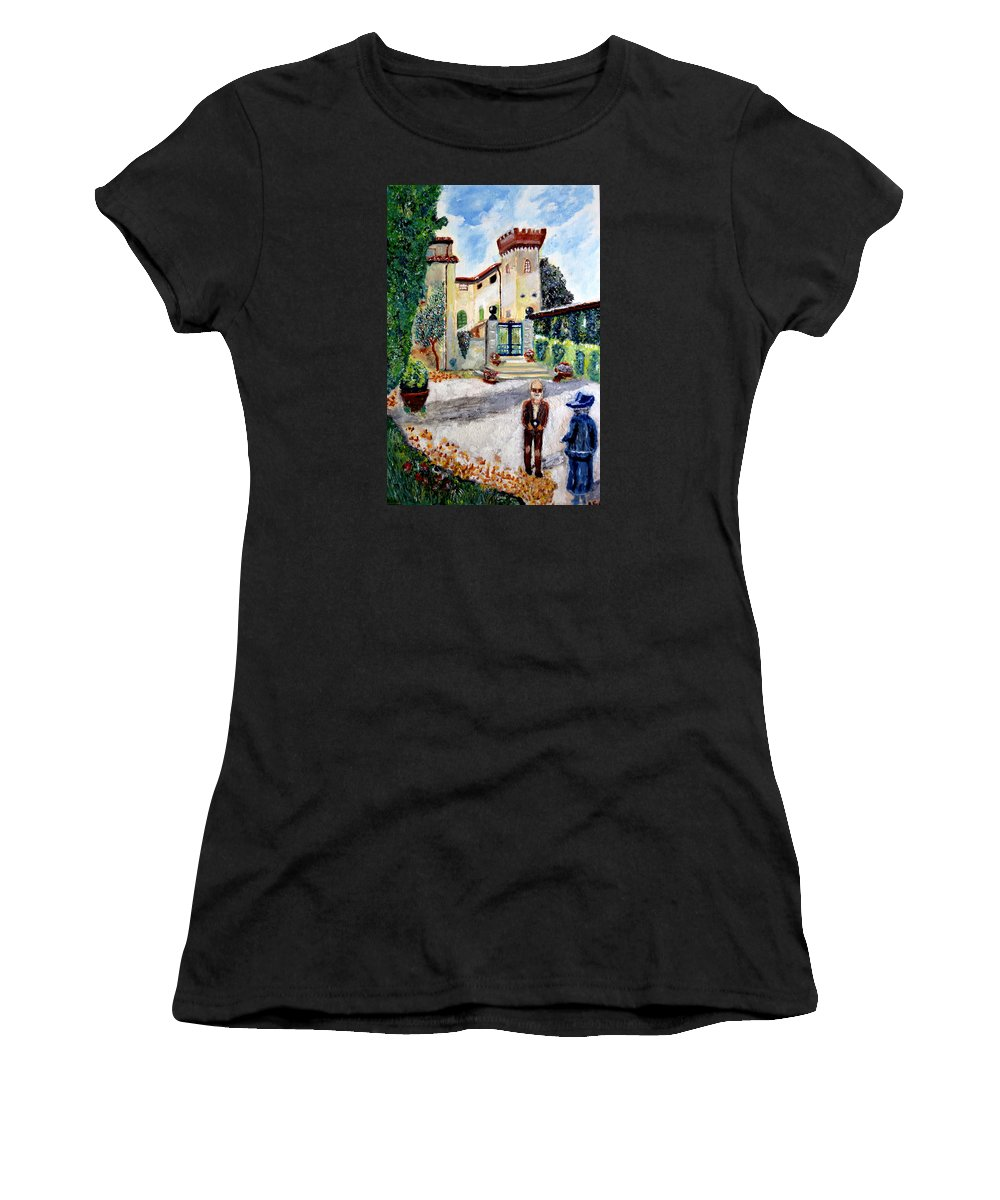 Nature Women's T-Shirt (Athletic Fit) featuring the painting The Farm In Montelopio -pisa by Daniele Fedi