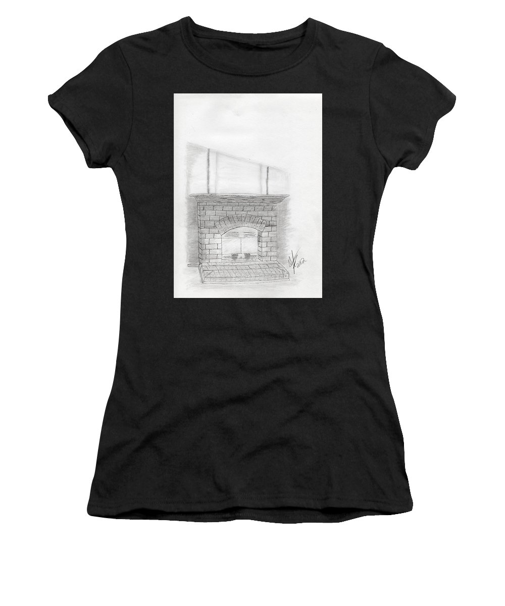Hand Drawn Women's T-Shirt featuring the drawing The Fireplace by Michael Jones