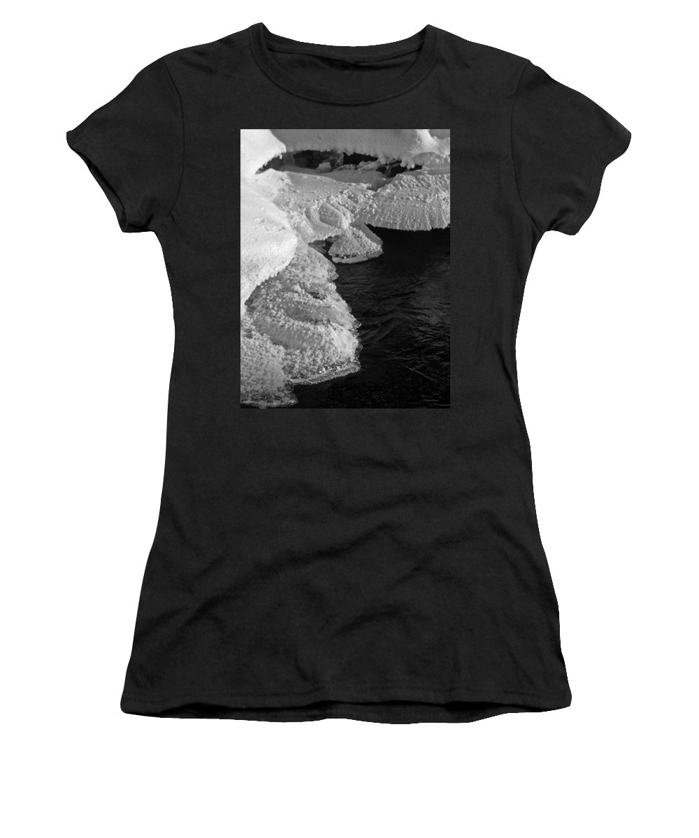 North America Women's T-Shirt (Athletic Fit) featuring the photograph The First Ice by Juergen Weiss