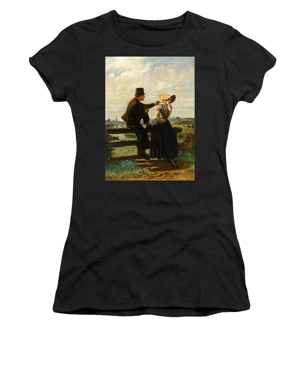 Adolf Alexander Dillens Women's T-Shirt (Athletic Fit) featuring the painting The Flirtation by Adolf Alexander Dillens