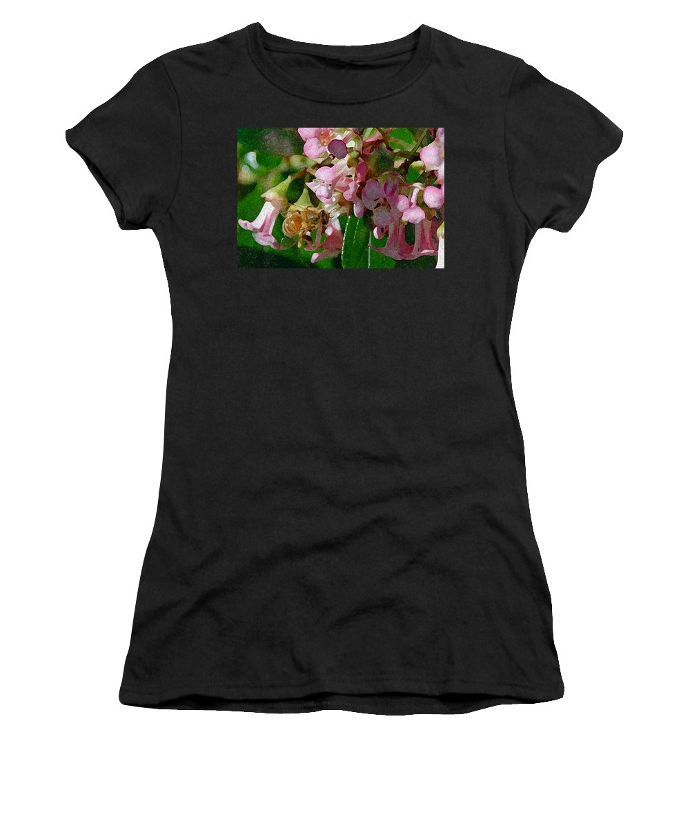 Plants Women's T-Shirt (Athletic Fit) featuring the photograph The Flower Bee by Carol Eliassen