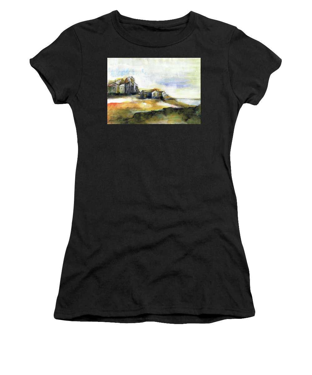 Abstract Landscape Women's T-Shirt (Athletic Fit) featuring the painting The Fortress by Aniko Hencz