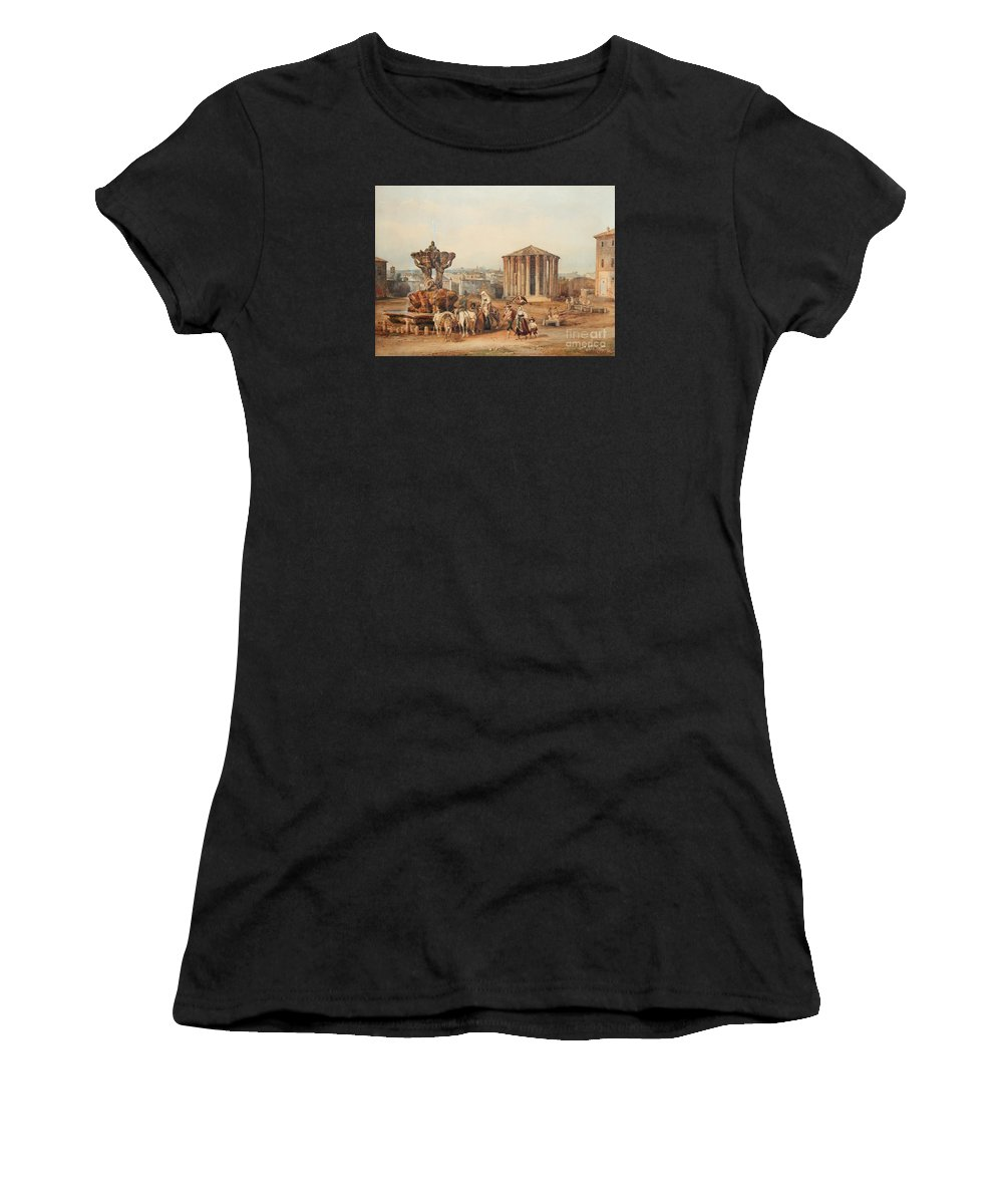Franz Kn�bel The Younger (la Sarraz 1810 - 1877 Rome) The Forum Boarium And The Temple Of Vesta Women's T-Shirt (Athletic Fit) featuring the painting The Forum Boarium The Temple Of Vesta by MotionAge Designs