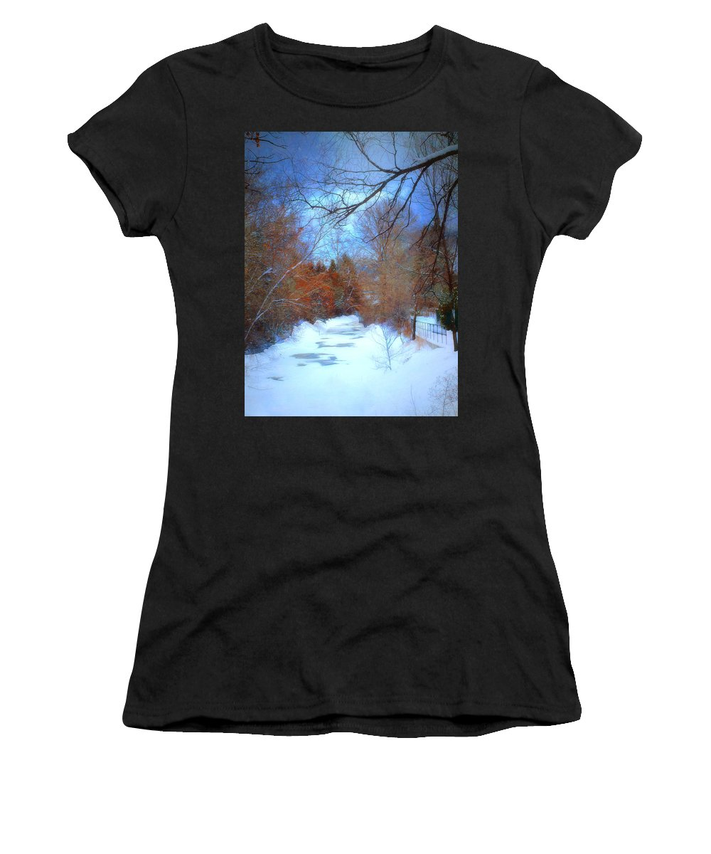 Snow Women's T-Shirt (Athletic Fit) featuring the photograph The Frozen Creek by Tara Turner