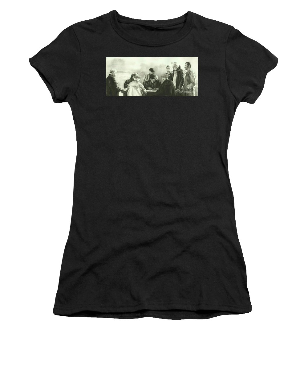People Women's T-Shirt featuring the painting The Game by Neil Kear