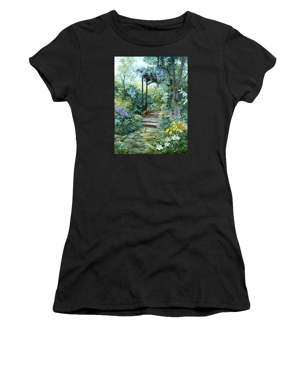 Oil Painting;wisteria;garden Path;lilies;garden;flowers;trellis;trees;stones;pergola;vines; Women's T-Shirt (Athletic Fit) featuring the painting The Garden Triptych Right Side by Lois Mountz