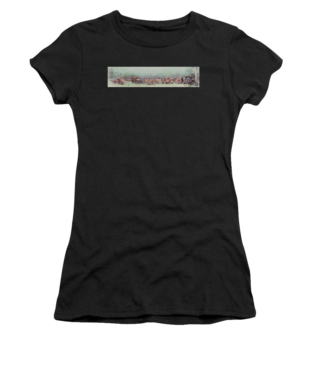 Atascadero Women's T-Shirt (Athletic Fit) featuring the painting The Gathering In Summertime by Martha Shilliday