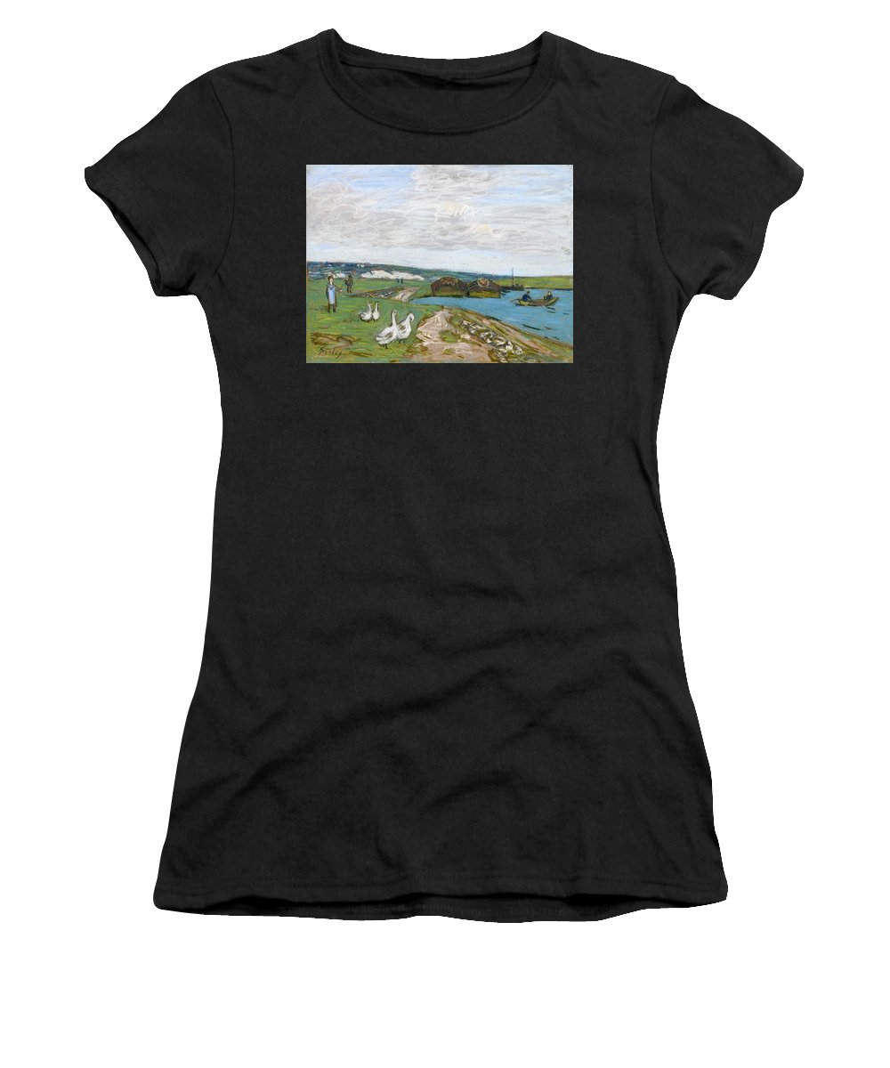 Alfred Sisley Women's T-Shirt (Athletic Fit) featuring the drawing The Geese by Alfred Sisley
