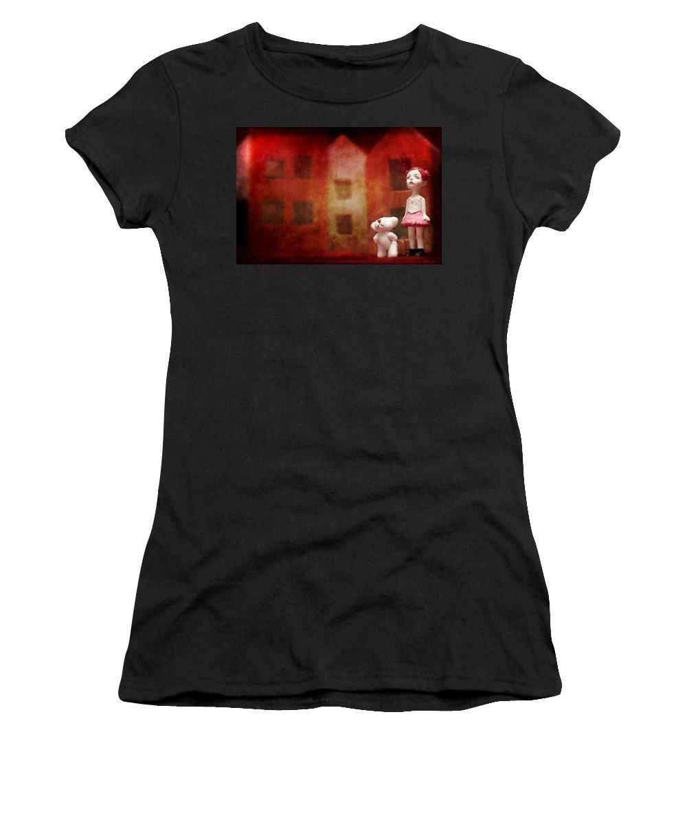 Miradolls Women's T-Shirt featuring the photograph The Girl With Teddy Bear by Heike Hultsch