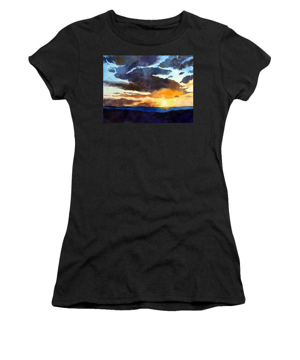 Sunset Women's T-Shirt (Athletic Fit) featuring the painting The Glory Of The Sunset by Christopher Shellhammer