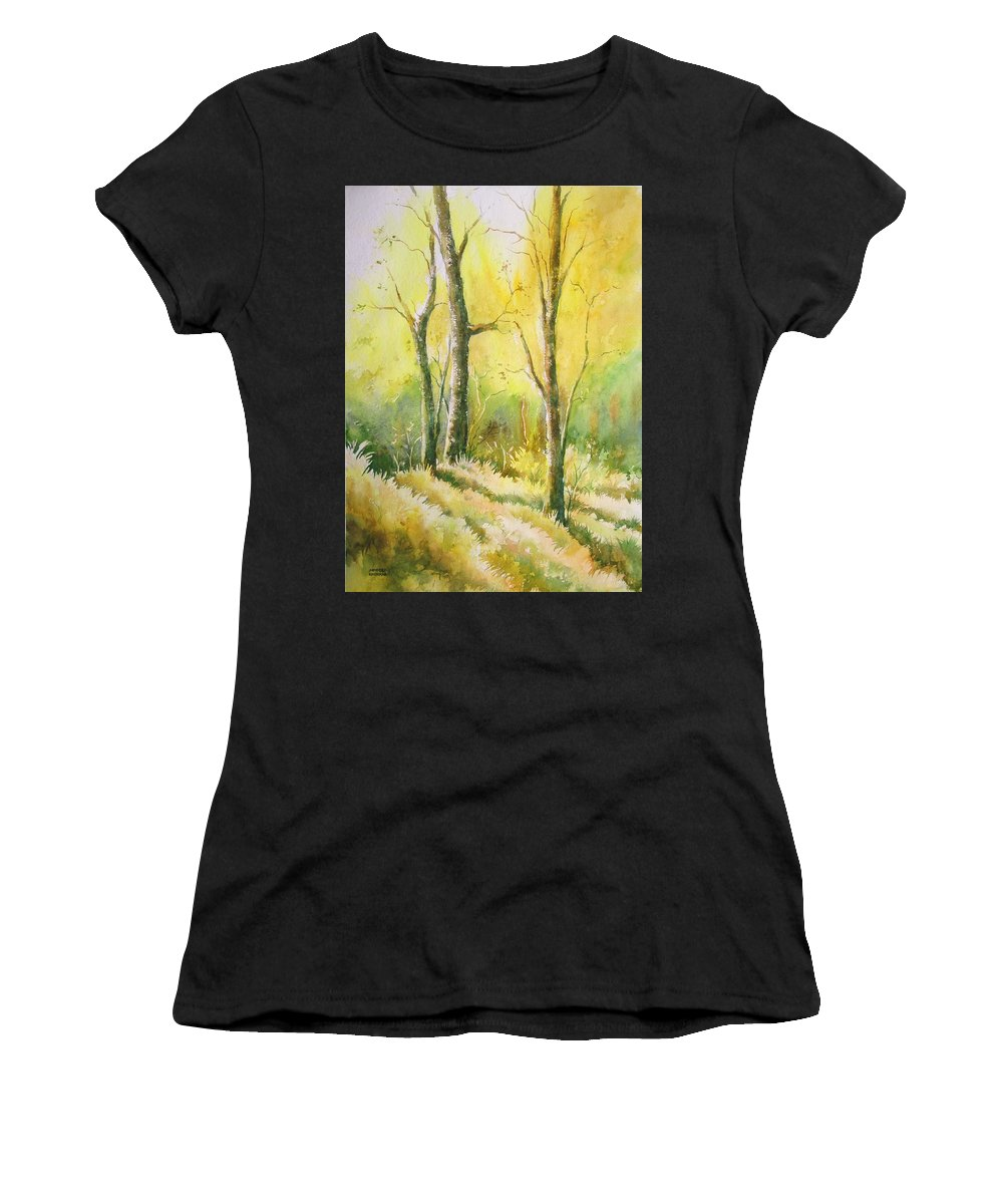 Landscapes Women's T-Shirt (Athletic Fit) featuring the painting The Golden Trio by Sandeep Khedkar