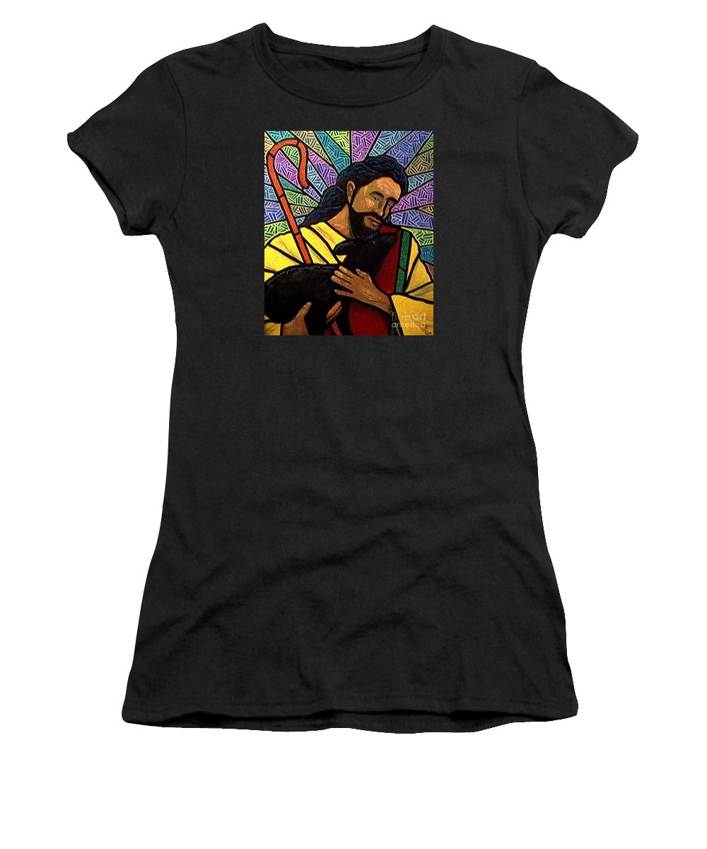 Jesus Women's T-Shirt (Athletic Fit) featuring the painting The Good Shepherd - Practice Painting One by Jim Harris