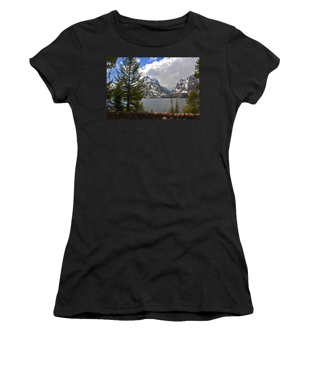 Photography Women's T-Shirt (Athletic Fit) featuring the photograph The Grand Tetons And The Lake by Susanne Van Hulst