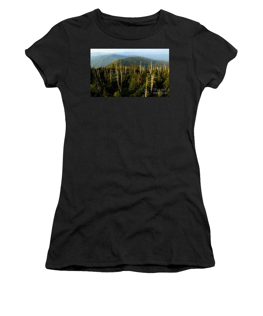 Great Smoky Mountains Women's T-Shirt (Athletic Fit) featuring the painting The Great Smoky Mountains by David Lee Thompson