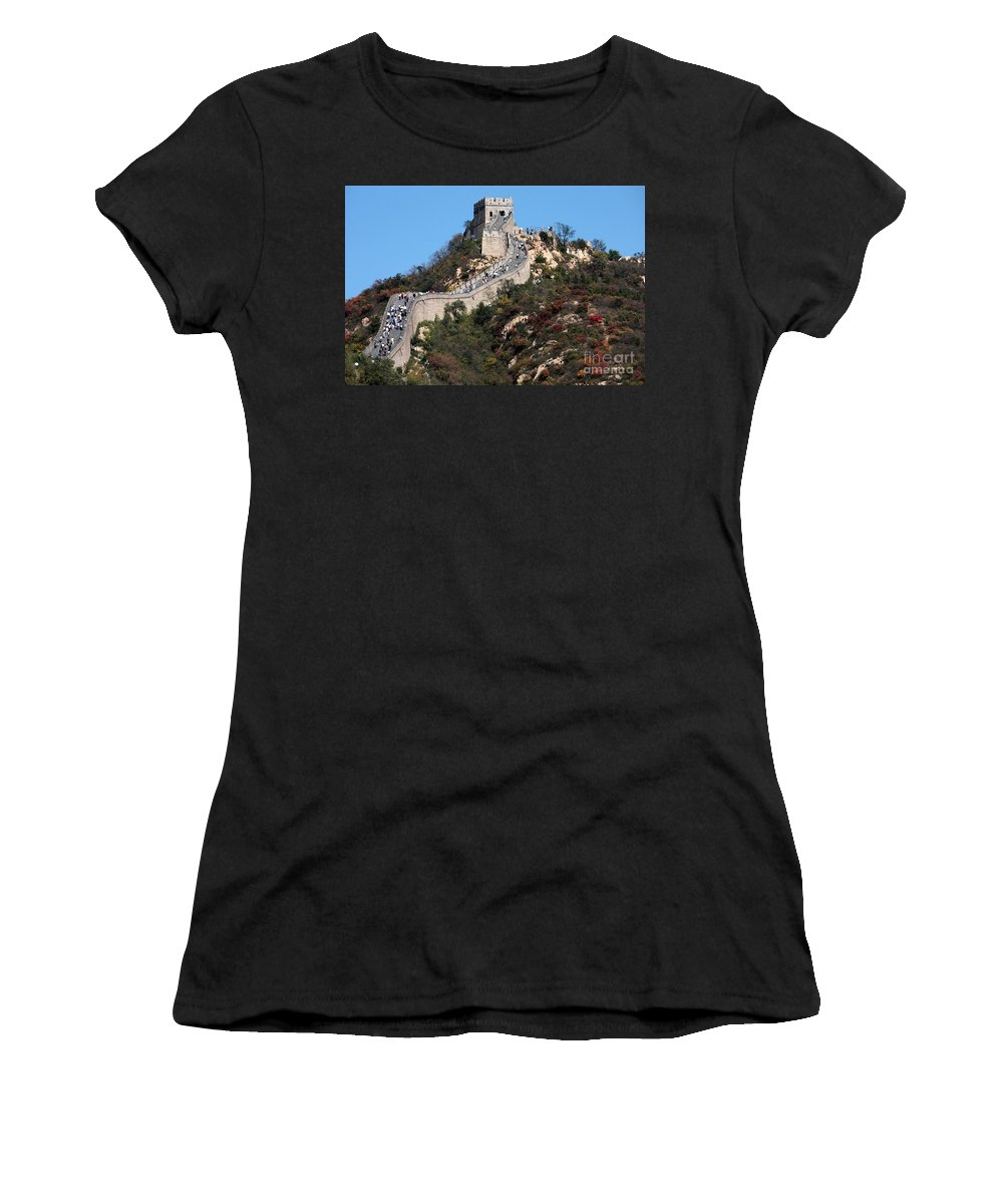 The Great Wall Of China Women's T-Shirt featuring the photograph The Great Wall Mountaintop by Carol Groenen