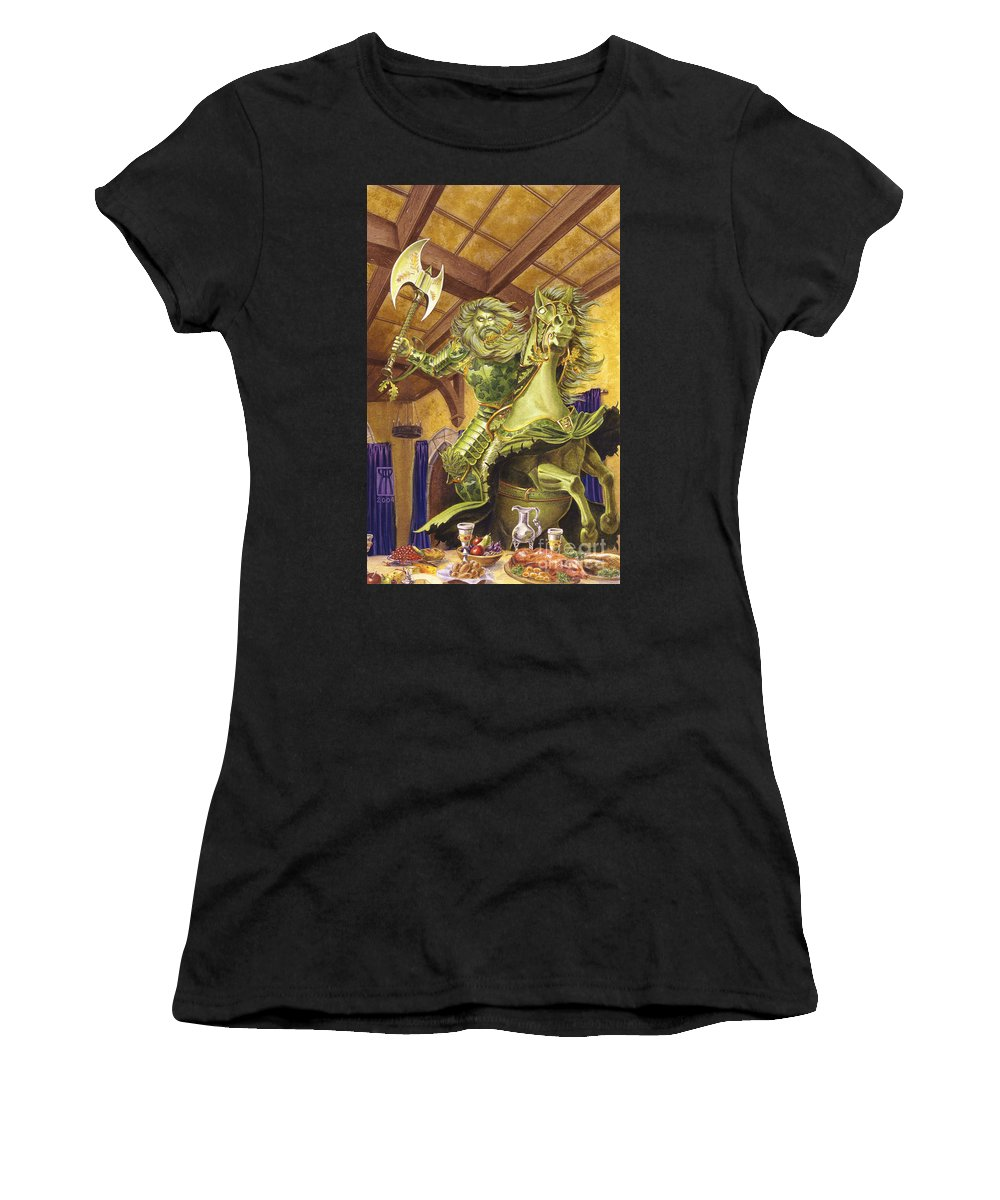 Fine Art Women's T-Shirt (Athletic Fit) featuring the painting The Green Knight by Melissa A Benson