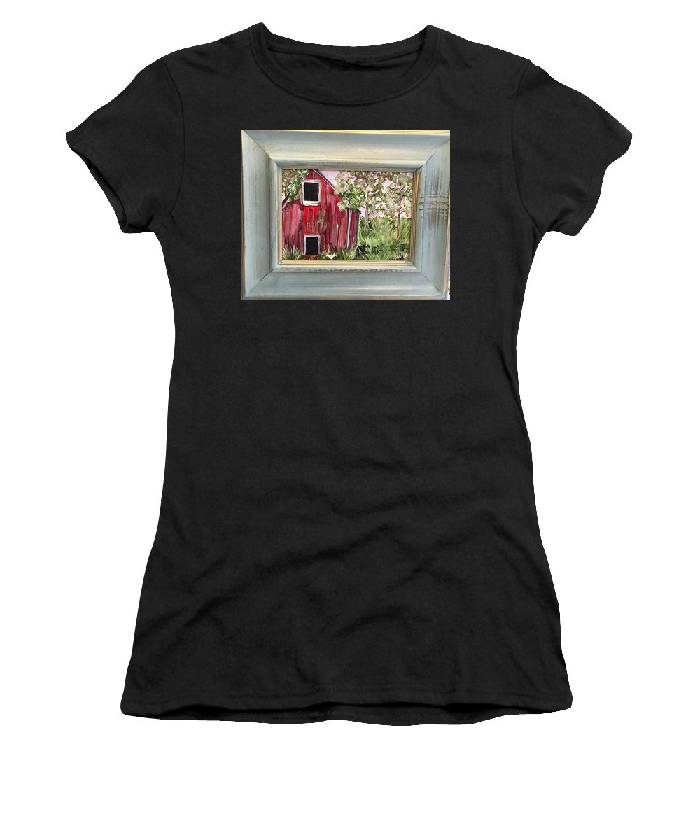 Barn Women's T-Shirt (Athletic Fit) featuring the painting The Grove by Lynn Anthony