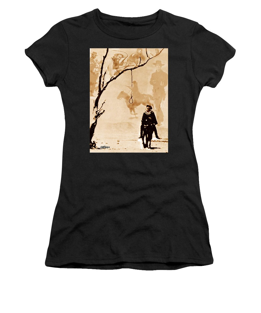 Clint Eastwood Women's T-Shirt (Athletic Fit) featuring the digital art The Hangman's Tree by Seth Weaver